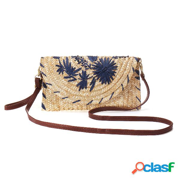 Mujer bordado paja bolsa teléfono embrague bolsa crossbody bolsa
