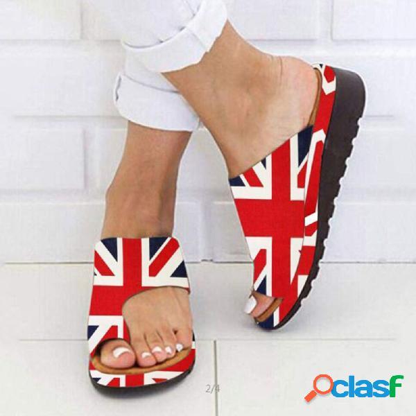 Tamaño grande mujer clip casual para corrector de juanete ortopédico cuñas deslizantes zapatillas