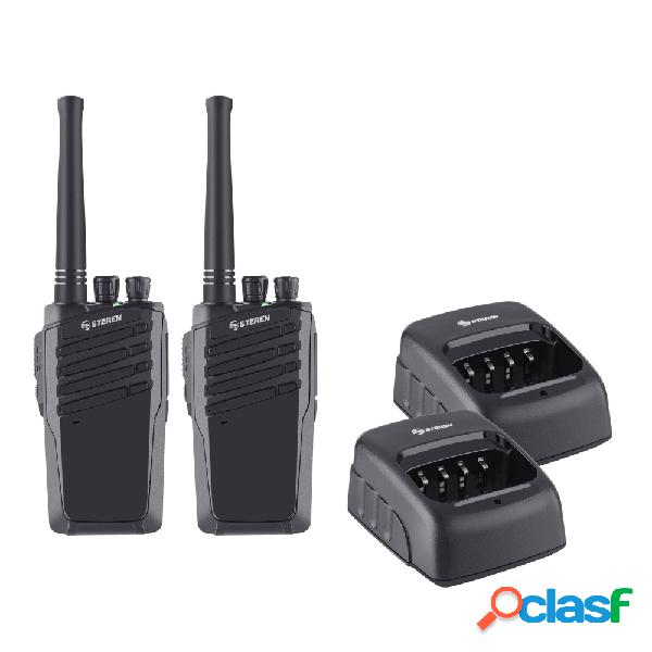 Steren kit de 2 radios rad-010, 16 canales, negro
