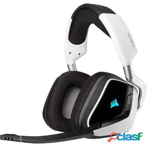 Corsair audífonos gamer void rgb elite wireless 7.1, inalámbrico, usb, negro/blanco