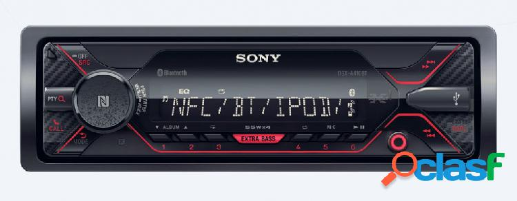 Sony autoestéreo dsx-a410bt, formatos de audio mp3/wma/flac, usb, negro