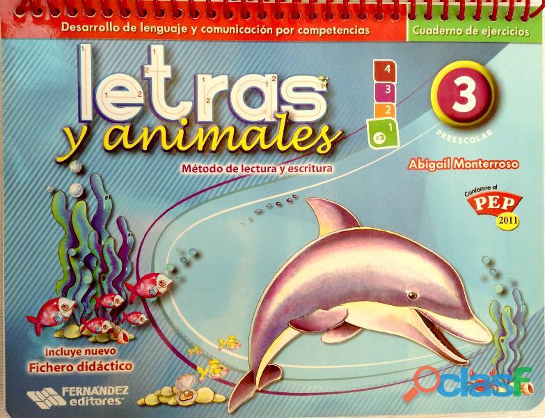 Letras y animales método de lectura y escritura preescolar 3