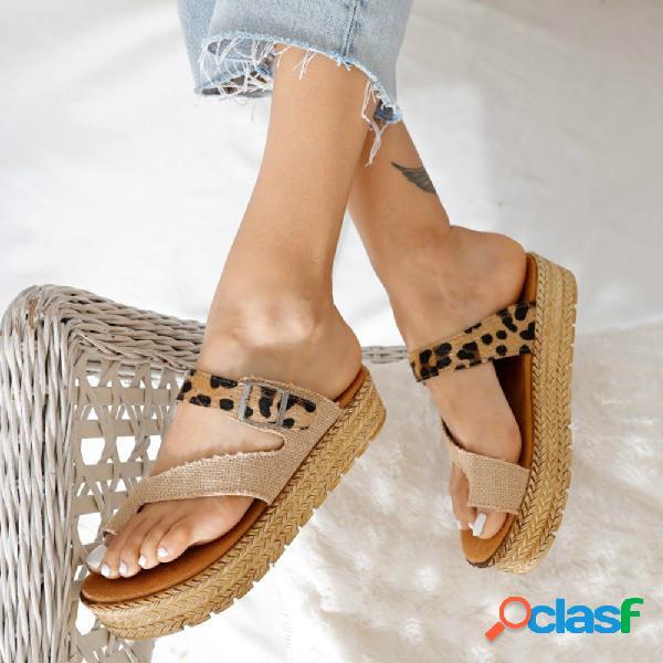Tamaño grande mujer cómoda plataforma de alpargatas con punta de clip con hebilla de leopardo zapatillas