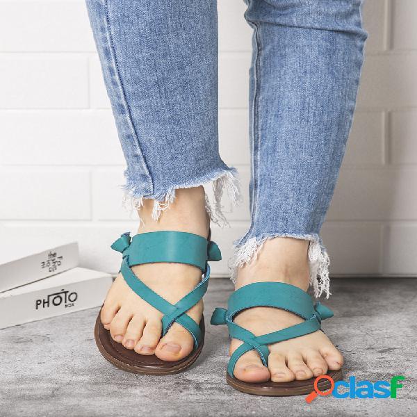 Correa cruzada con punta de clip playa plano informal zapatillas