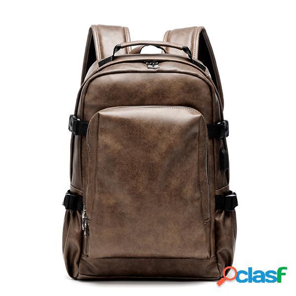 Los hombres de negocios pu cuero sólido mochila informática informal bolsa