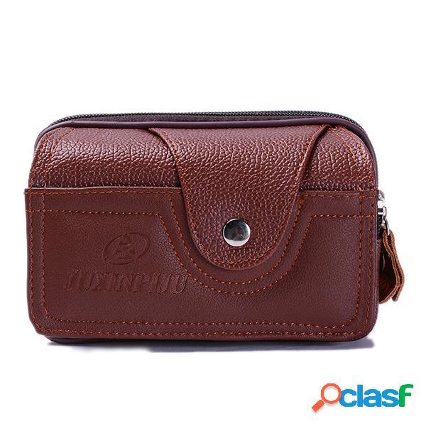 Hombres pu cuero cinturón monedero sólido multifunción teléfono bolsa cintura ocasional bolsa
