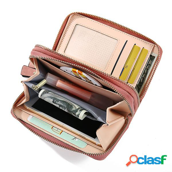 Mujer pu de cuero con doble cremallera cartera larga 6 titular de la tarjeta monedero
