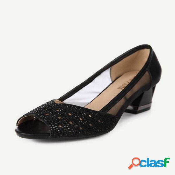 Sandalias nueva moda de malla de diamantes de imitación para mujer boca de pez hueca informal sandalias grueso con zapatos individuales salvajes