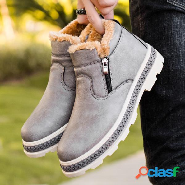 Hombres con cremallera interior confort cálido forro de felpa tobillo casual botas