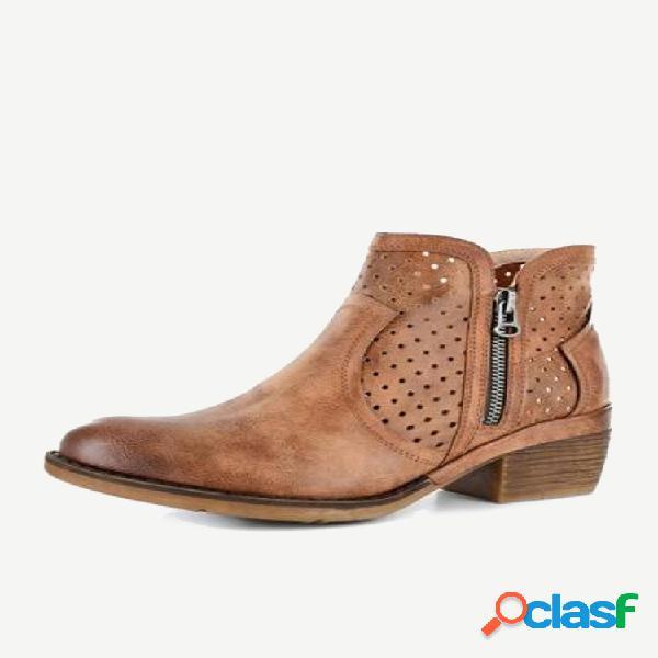 Talla grande mujer retro cómodo cuero pu color sólido cremallera tacón cuadrado tobillo botas