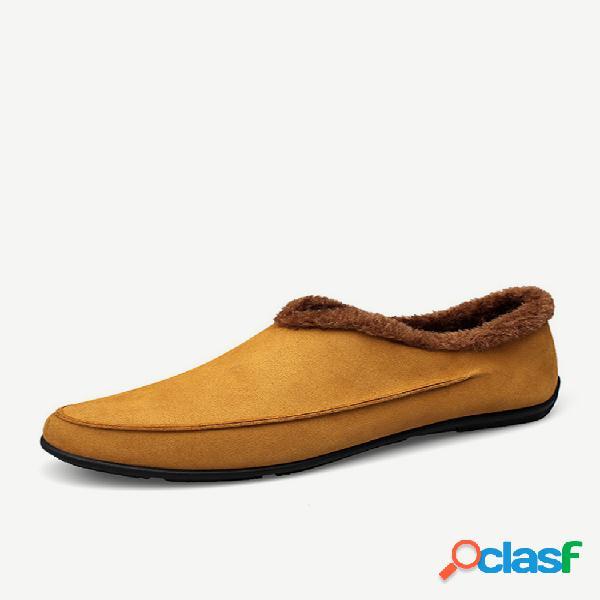 Slippers casuales antideslizantes de cuero de microfibra con forro de peluche de talla grande para hombres