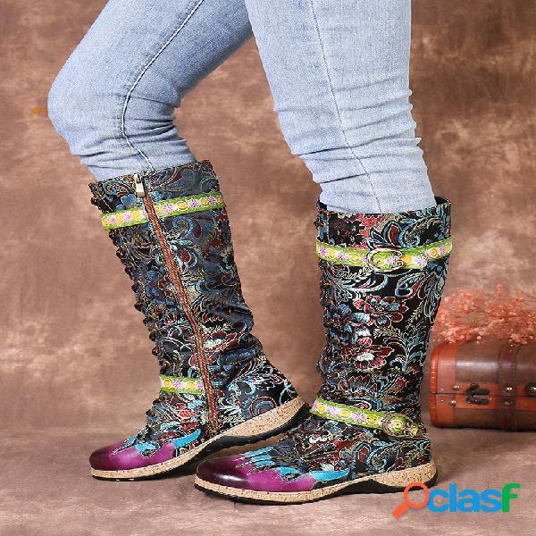 Socofy retro gorgeous flowers empalme de tela cómodo cuero cremallera con cordones mitad de la pantorrilla botas