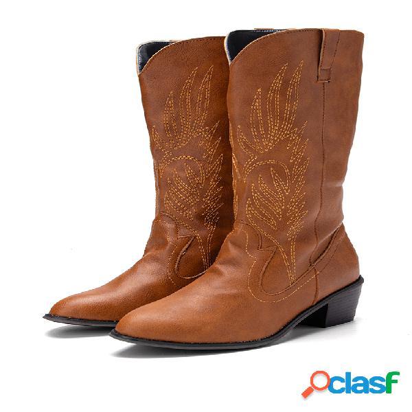 Mujer casual hoja vaquero de media pantorrilla bordado en punta botas