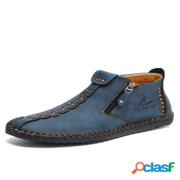 Salkin costura a mano con cremallera lateral para hombres soft tobillo cómodo sin cordones botas