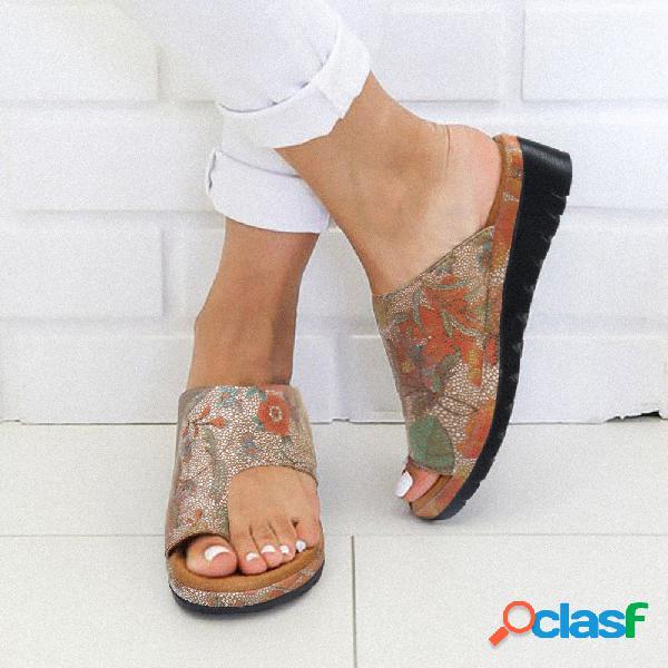 Mujer casual patrón cuñas con punta de clip zapatillas