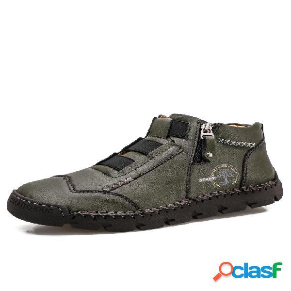 Tobillo de cuero de microfibra con cremallera lateral con estilo hecho a mano para hombre botas