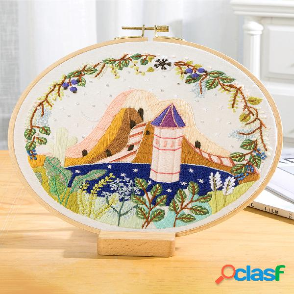 Kit de bordado de flores de paisaje de bricolaje con aro costura paisaje punto de cruz artesanía regalo arte decoración del hogar