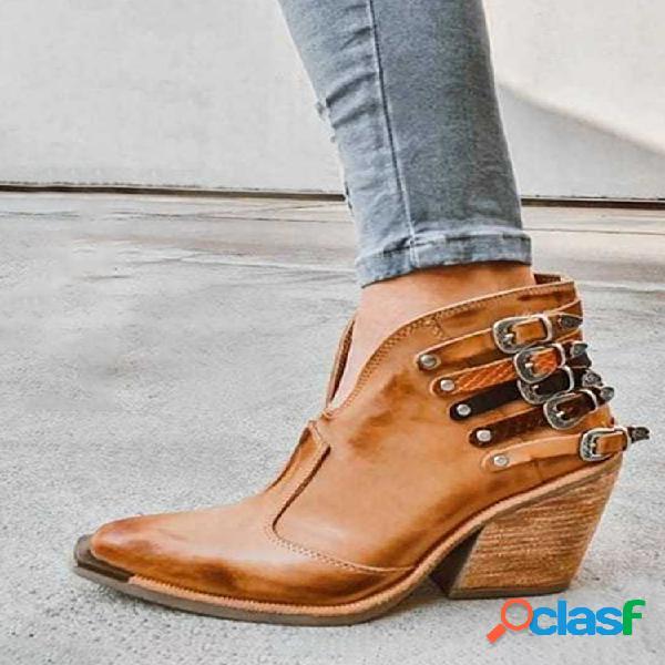 Mujer talla grande punta puntiaguda casual retro elegante tacón grueso tobillo botas