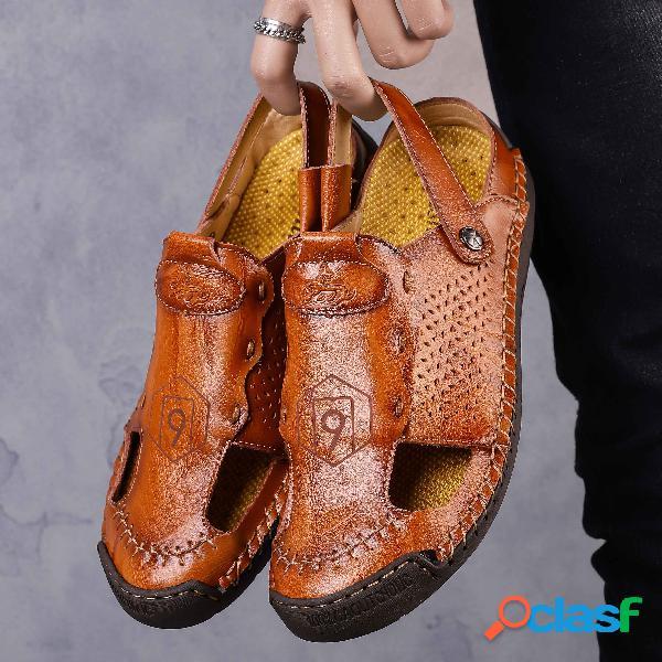 Hombre punta cerrada costuras a mano soft cuero sandalias