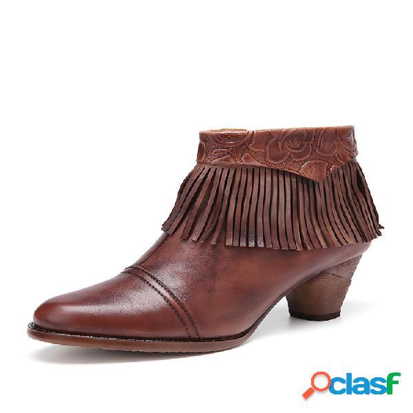 Socofy retro floral impreso tobillo cuero borla decoración cremallera lateral tacón grueso tobillo botas