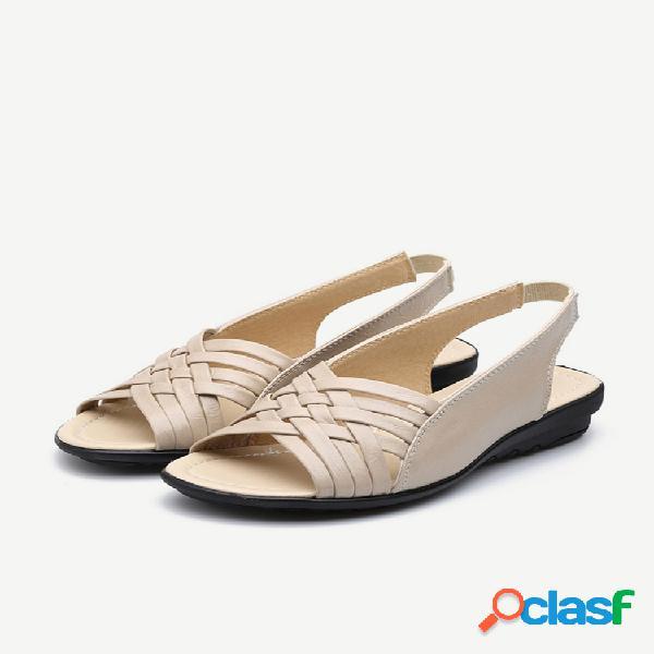 Peep toe soft suela slingback plano sandalias para mujer