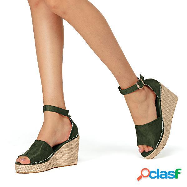 Sandalias de ante peep toe de moda verde
