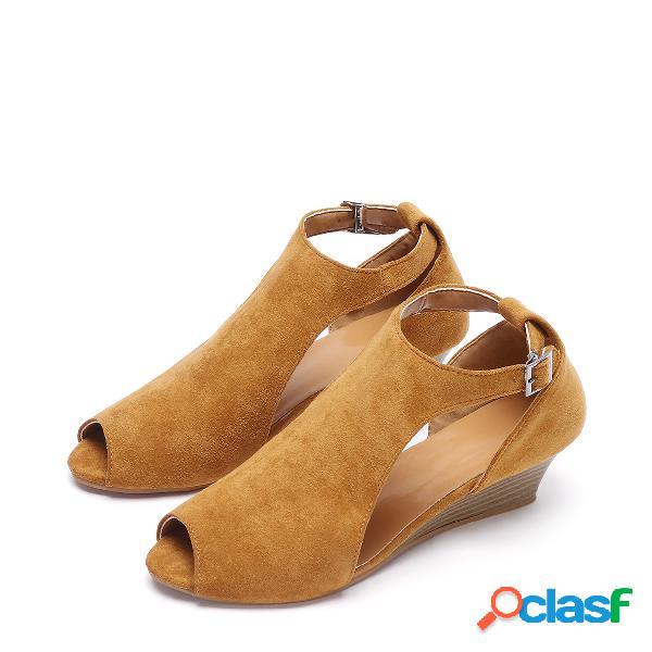 Sandalias de diseño de cuña de peep toe marrón