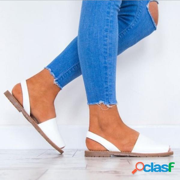 Sandalias planas de estilo gladiador blanco con peep toe