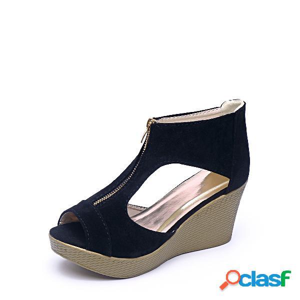Sandalias de cuña con cremallera y diseño peep toe de color negro