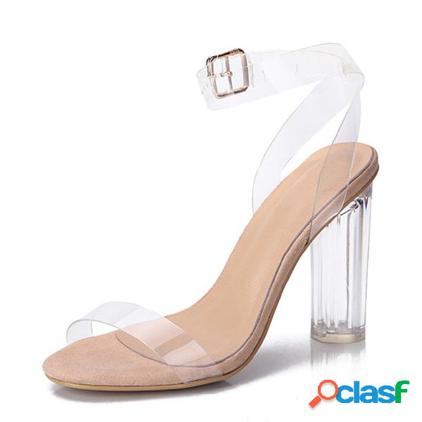 Sandalias de tacón grueso transparente con correa de tobillo