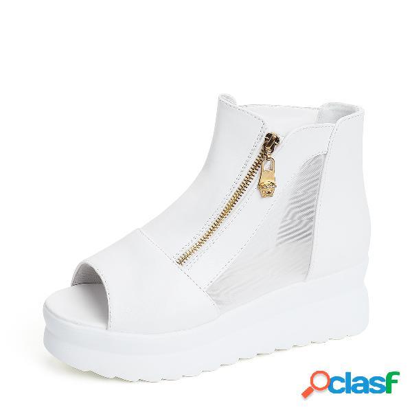 Sandalias de plataforma de peep toe cosidas con malla blanca