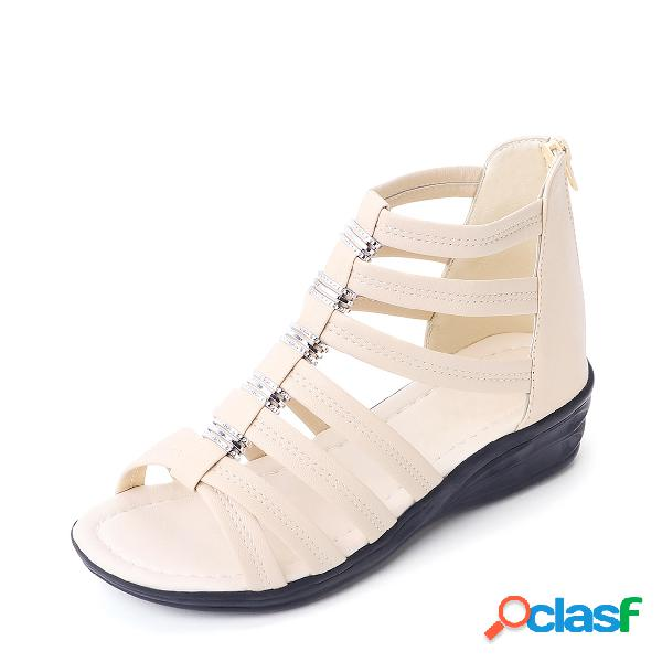 Sandalias de gladiador con diseño de cremallera en color beige peep toe