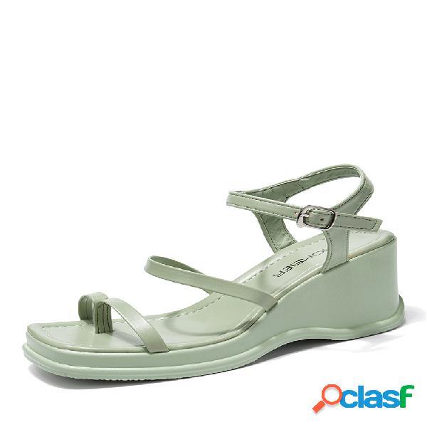 Mujer cuñas de plataforma con punta de clip cómodas y cómodas de color liso sandalias