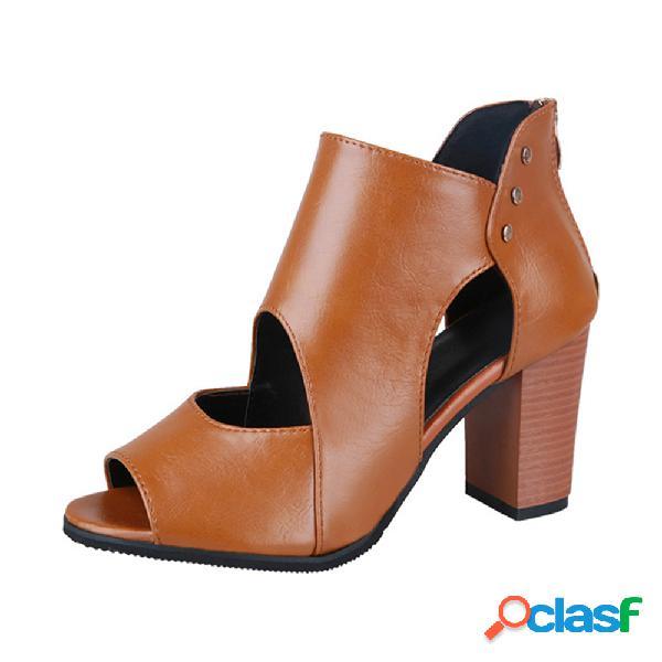 Mujer lady peep toe cremallera hueca tacón grueso alto sandalias