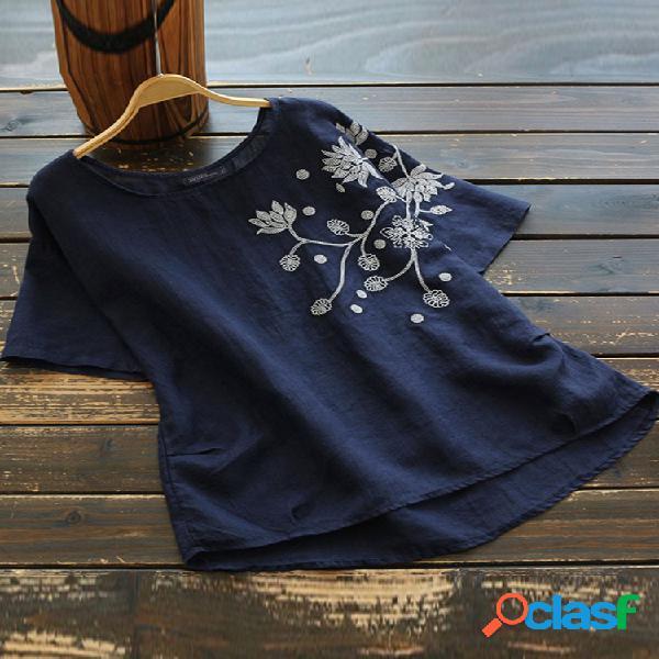 Camiseta bordado flores manga corta plus talla