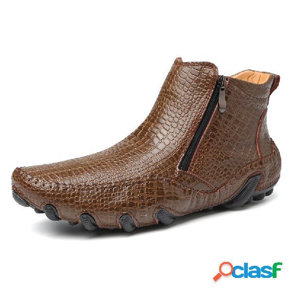 Cocodrilo elegante para hombre patrón cremallera interior soft tobillo de cuero botas