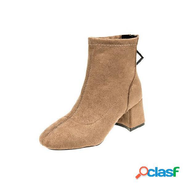 Mujer gamuza tacón alto botas