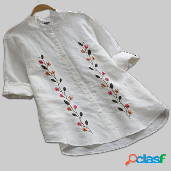 Flores bordado manga larga plus talla vendimia camisas