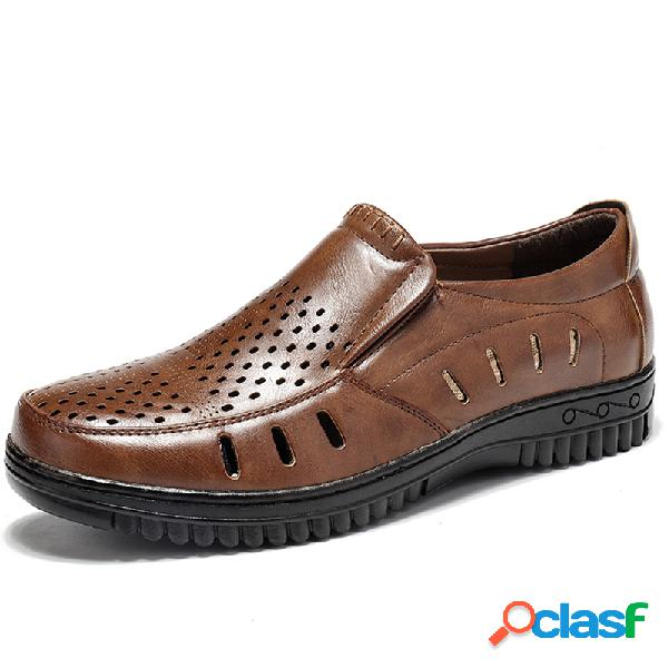 Hombres de microfibra de cuero antideslizante agujero soft suela zapatos casuales