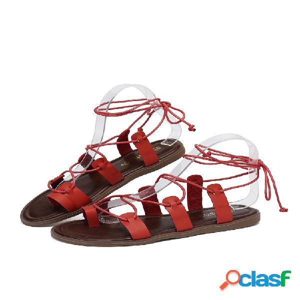Clip toe antideslizante plano marrón tiras sandalias