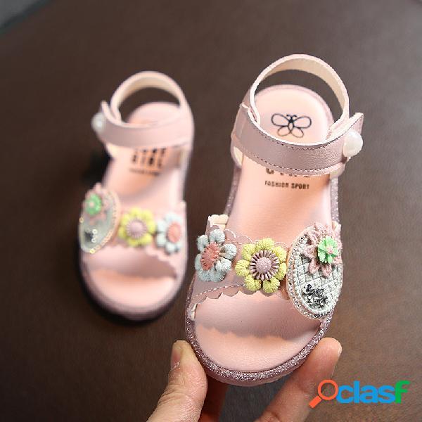 Decoración linda de las flores de las muchachas antideslizante suela soft sandalias