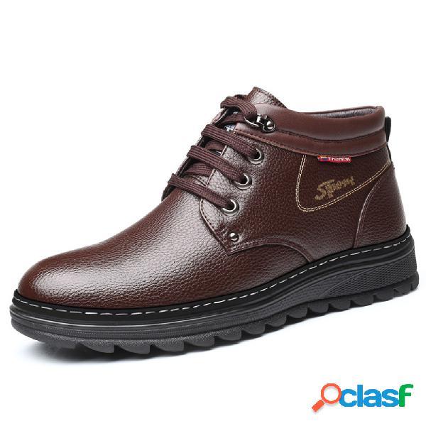 Hombres de microfibra de cuero, forro de felpa antideslizante soft casual botas