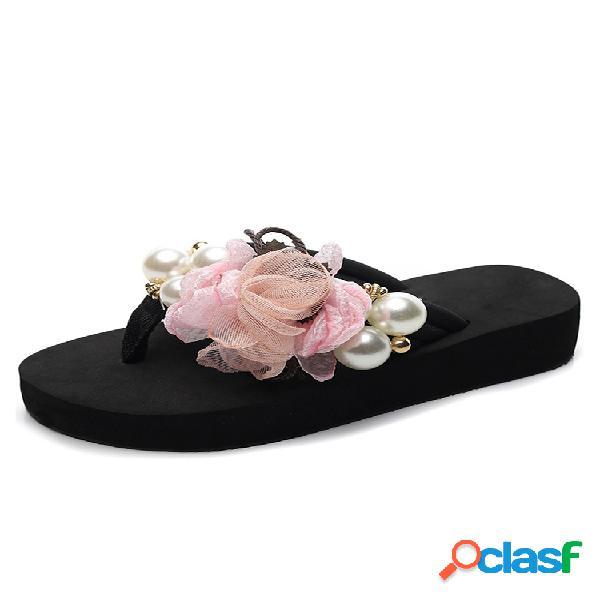 Mujer flores decoración perla soft inferior casual plano zapatillas