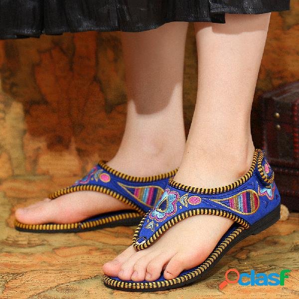 Punta de clip cómoda con costura hecha a mano de colores mujer plano hawaiano sandalias