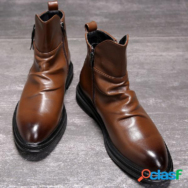 Hombres retro color microfibra cuero antideslizante cremallera lateral casual tobillo botas