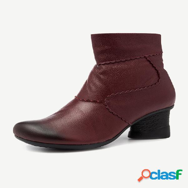 Mujer retro soft cómodo cuero forro cálido cremallera de tacón grueso botas