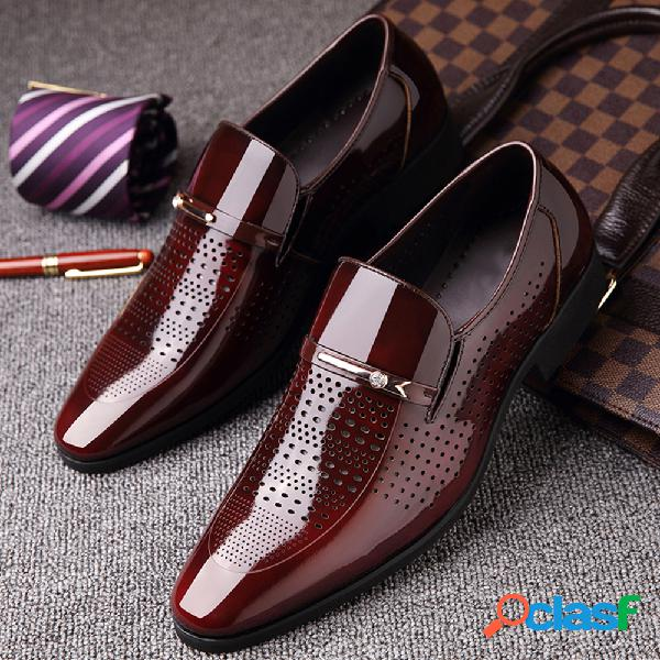 Hombres microfibra cuero agujero transpirable casual formal vestido zapatos
