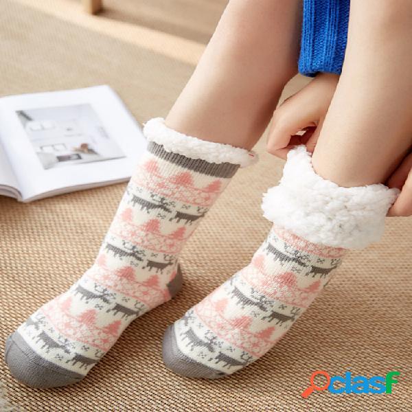 Mujer plus piso grueso de piel de oveja calcetines parte inferior antideslizante para el hogar calcetines transpirable soft calcetines