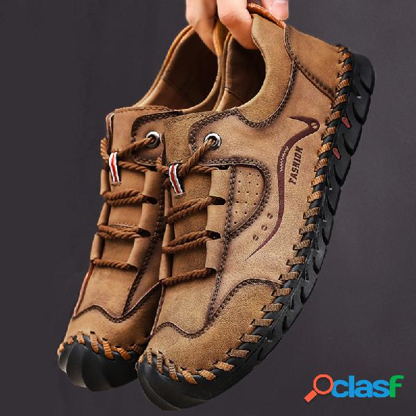 Hombre cuero de microfibra costuras manuales antideslizante zapatos casuales anticolisión