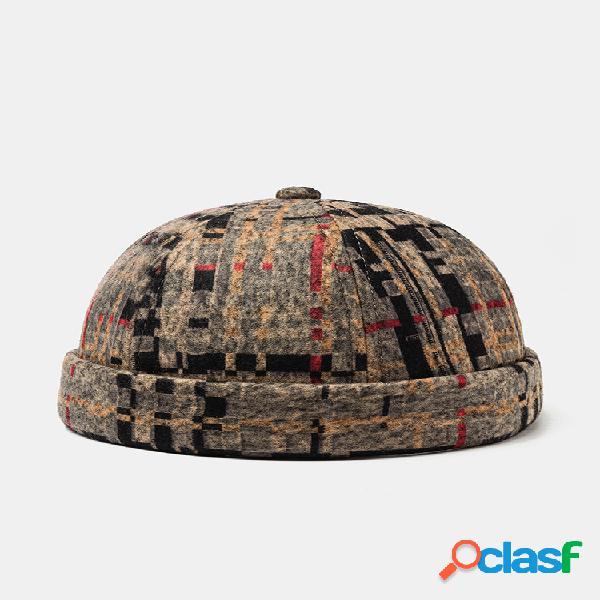Hombres y mujer felpa soft tejido cráneo gorras costura a cuadros sombrero sin ala sombreros